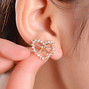 Jewelry - SWEET Goldtone Hollow Crystal Heart with Bow Studs